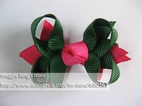 Girl hair bows attached clip Hair Accessories Baby hair bows Baby hairs clip grosgrain ribbon bows many colors can mix 100pcs