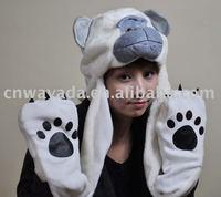 1 pcs  Animal hat -Orangutang Cartoon Cute Fluffy Plush Hat Cap with Gloves,Wholesale