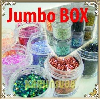 FREE SHIPPING #B 12 Neon Glitter Dust Spangles Acrylic Nail Art Jumbo K342