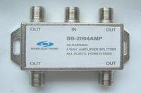 Free shipping 4 way Satellite Sat TV Signal Amplifier Splitter