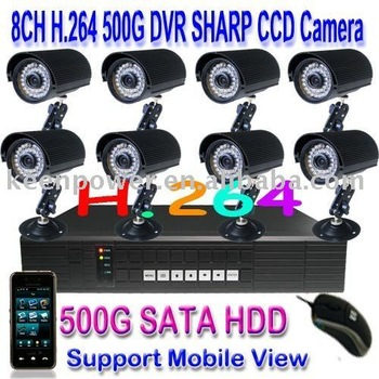"Free Dropshipping/10.4"" LCD 500GB H.264 8CH Net DVR CCTV CAMERA Security Kit"