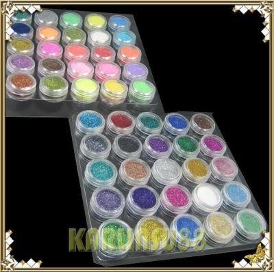 FREE SHIPPING 45 Color Glitter Sparkle Dust Powder Nail Art Make Up K450(China (Mainland))
