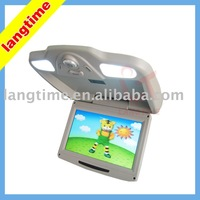 "X9001 - 9"" car flip down(roof mount) lcd monitor -with 2 lights,three colors"