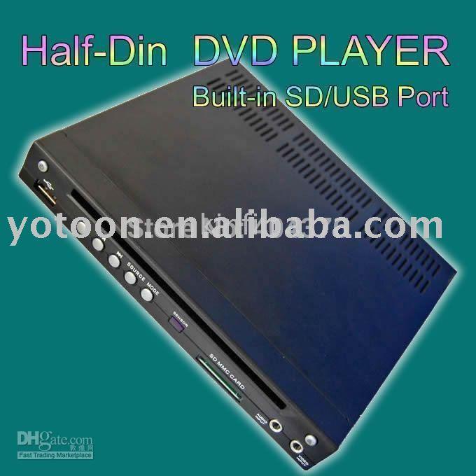 Free Shipping+CAR 1/2 DIN In-Dash DIVX/MP3/CD/DVD Player+USB/SD Slot CAR HALF-DIN DVD(China (Mainland))