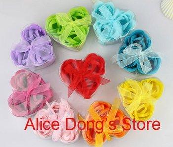 3pcs/set, 100 sets/lot Bath Soaps Flower Rose Petal 7 Colors Available