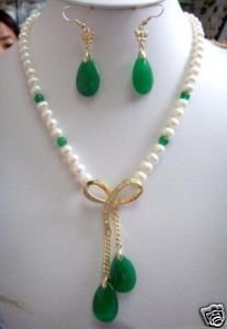 New design white pearl&green jade Earring necklace Free Shipping(China (Mainland))