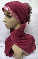 Beauty sleek with crystals hot drill ruched muslin higab,muslin scarf YM1029164