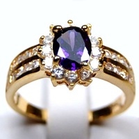 """""""Free shipping Jewellery"""" 5 pieces/lot New Arrival Fashion Purple 10kt Yellow gold ring sz8 9303"""