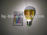 Free  shipping  E27 High Power  3W  RGB  LED Bulbs lamp + remote control
