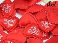 Red I LVOE YOU Padded Heart Applique Craft Valentine Wedding Supply 500pcs/lot
