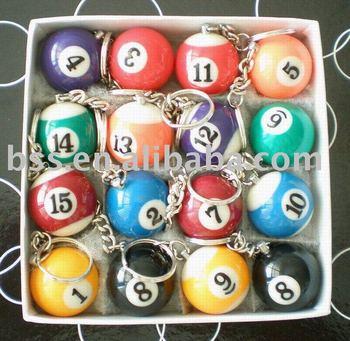 "FREE SHIPPING 16pcs/lot NEW Pool Billiard snooker table ball keychain keyring 1-1/4""  3.2cm"
