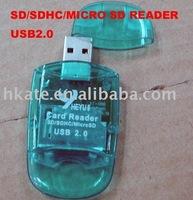 free shipping 20pcs/lot Mini USB 2.0 SDHC Card Reader+TF/Micro SD Adapter dsh001