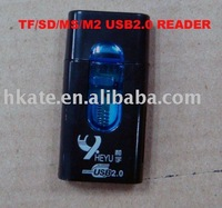 free shipping 50pcs/lot Mini USB 2.0 TF/SD/MS/M2 card reader Reader+TF/Micro SD Adapter tpc001