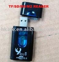 free shipping 30pcs/lot Mini USB 2.0 TF/SD/MS/M2 card reader Reader+TF/Micro SD Adapter tpc001