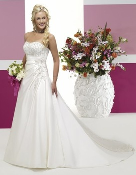 2010 Satin Applique Beading Corset A-line white ivory Wedding Dress