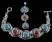 Free ship fee 925 sterling silver sun turquoise bracelet & pendant, all stamped 925 ,lady style jewelry silver sets NB065