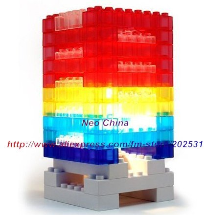 Novelty DIY building blocks desk lamp,puzzle desk lamp,building blocks desk lamp,5 pieces/lot,free shipping(China (Mainland))