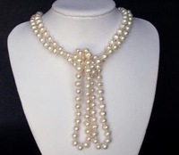 "Free shipping necklace 60"" FW White Pearls 9mm Round Baroque"
