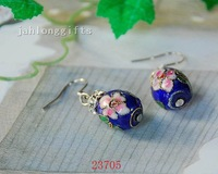 Wholesale Cloisonne Earring Handmade Blue Enamel Bead Ear Pendant 50pair Mixed Lot Free Shipping