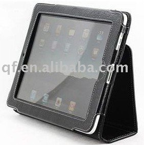 wholesale and retail 5pcs New free shipping Brand New Black Leather Flip Case Cover for Apple iPad(China (Mainland))
