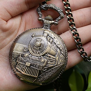 Embossment Railroad Steamtrain Quartz Pocket Watch With Chain Brand New H006