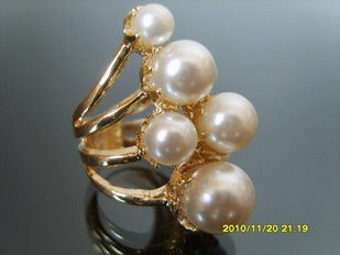 Western Style Gold Plated Alloy Cluster Rings Pearls Size 7/1.7CM,Fashion Jewelry Jewellery, 12Pcs/Lot Free Shipping(China (Mainland))