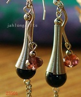 HOT SELLING! Ethnic Tibet Silver Jewellery Earring with Inlayed Black Agate Pendant Earring 40pair Mixed Lot Free Shipping