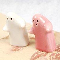 Free shipping 50pairs/lot cartoon ceramic salt and pepper set