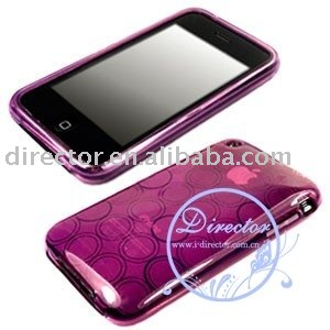 DIRECTOR Free Shipping 100pcs/lot For iPhone 3G 3GS TPU Clear Hard Cel Case Circle Pattern (DT-1064)(Hong Kong)