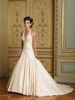 Cheap !!Hot Sell Free Shipping New Stunning V-neck Satin Wedding Dress Bridal Gown