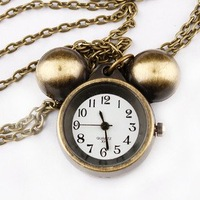 Free shipping vintage mikey mouse pocket watch sweater chain necklace XL089