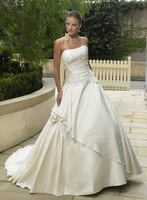 Elegant Ivory Strapless Satin Bridal Gown/Wedding Dress Custom Free Shipping
