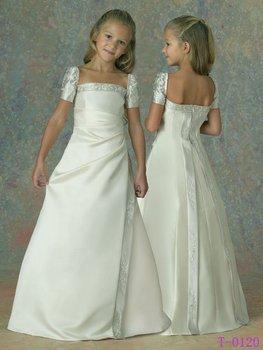 Free Shipping Wholesale Retail Lovely Satin Flower Girl Dress