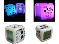 Wholesale   1 pcs color chang glowing LED lovely cartoon digital Alarm Clock