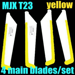 RC helicopter spare parts fittings 4*main blades/set MJX T23 big propeller rotor blades(color:yellow)