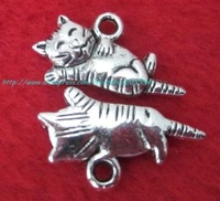 free shipping antique silver nice cat charms metal charms jewelry accessories
