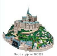 Free shipping,wholesales, resales birthday gift, diy toy, Famous architecture in the world, Saint Michelle Abbey, 3D Paper model