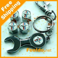 Car tire valve caps 4pcs + wrench key chain for MUSTANG Tracking number  #1234