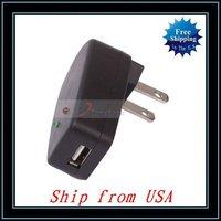 Free Shipping + 5pcs/lot Universal USB AC Adaptor Charger Power Supply US Plug Black Ship from USA-C01911