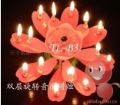 wholesale and retail spin double-deck lotus music candle birthday candle best birthday gift  free shipping