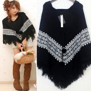 2010 Winter new Korean fashion fur ball bat shirt knitted shawl cape coat large cloak joint cap
