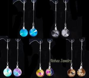 crystal earrings mixed colors 60 pairs ,opp packing + free shipping #W20436(China (Mainland))