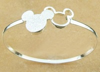 Free ship fee 925 sterling silver two micky bangle fashion gift S007