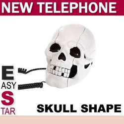 SHIPPING!!! NOVELTY HEAD SKULL SHAPE CORDED TELEPHONE DESKTOP HOME PHONE/sku:004(China (Mainland))