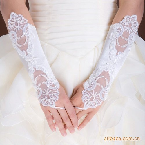 Free shipping satin bridal gloveswholesaleretail ladies lace wedding