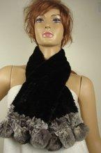 Wholesale-fashion mink fur scarf,beautiful balck lady Scarf (100% mink + rabbit fur of the lower hem), top quality(China (Mainland))