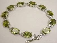 wholesale 925 silver natural peridot bracelet 7 inch women's jewelry bracelet FREE SHIPPING
