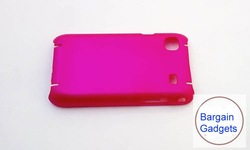 50pcs free ship hot pink rubber matte rubberized hard back case cover shield plastic hard case crystal case for samsung i9000(China (Mainland))