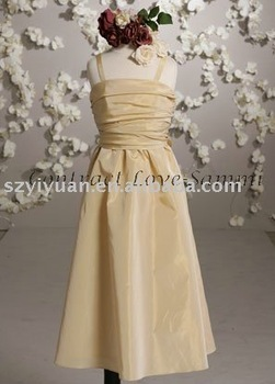 2011 yellow taffeta tea-length junior bridesmaid dress