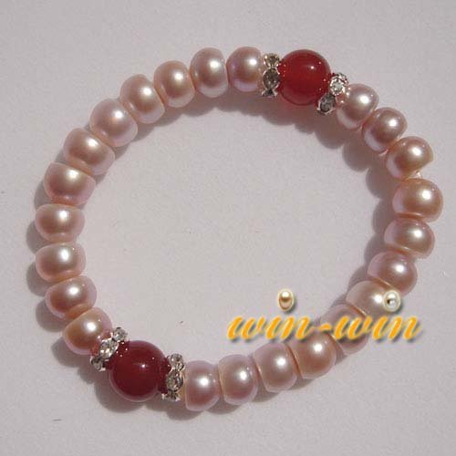 FREE SHIPPING 100% Genuine 7-8mm Freshwater Pearl Bracelet 2pcs/lot(China (Mainland))